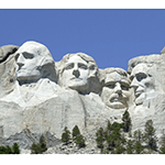 Picture of Mount Rushmore, The sculpture features the 60-foot (18 m) heads of 4 Presidents